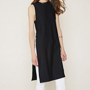 Forever 21 pinstriped High slits Tunic Sz S